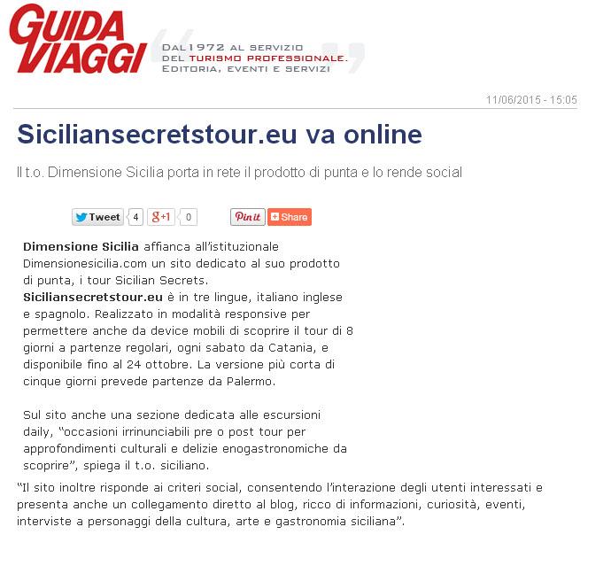 Dimensione Sicilia su Guida Viaggi del 11-06-15