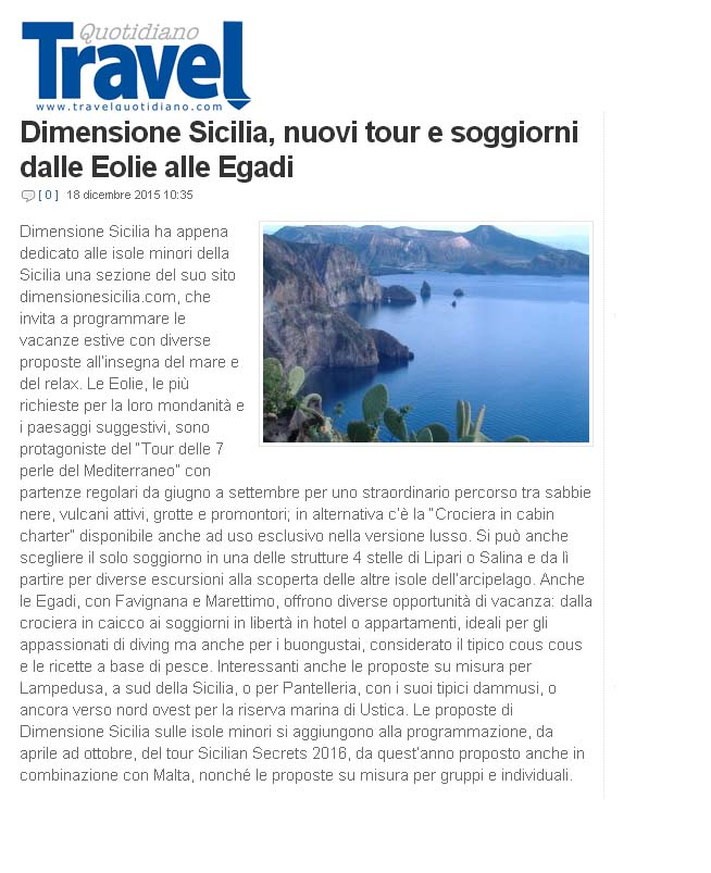 Travel Quotidiano Eolie 18 dicembre 2015